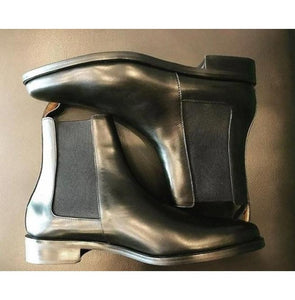Bespoke Black Leather Chelsea Boots for Men's - leathersguru