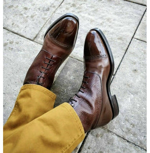 Bespoke Brown Cap Toe Leather Ankle Boot for Men - leathersguru
