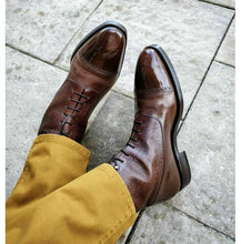 Load image into Gallery viewer, Bespoke Brown Cap Toe Leather Ankle Boot for Men - leathersguru