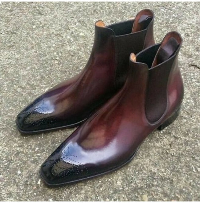 Bespoke Burgundy Chelsea Leather Brogue Toe Boots for Men's - leathersguru