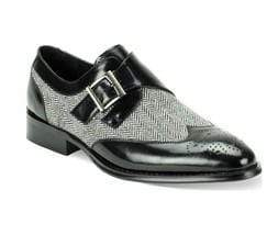 Handmade Gray Black Monk Strap Leather Tweed Shoe - leathersguru
