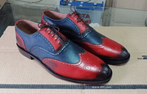 Men's Leather Blue Red Wing Tip Brogue Lace Up Shoes - leathersguru