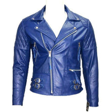 Load image into Gallery viewer, Men Motorcycle Style Leather Jacket Desperado's Electric Blue Leather Jacket - leathersguru