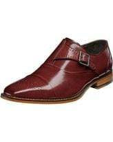 Handmade Burgundy Monk Strap Leather Shoe - leathersguru