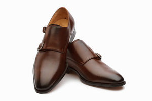 Bespoke Brown Leather Double Monk Strap Shoe for Men - leathersguru
