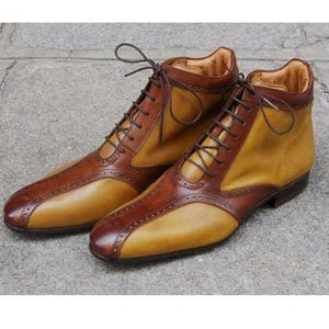 Bespoke Tan and Brown Leather High Ankle Stylish Lace up Boot - leathersguru