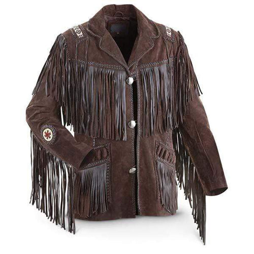 Men's Bluish Brown Suede Western Cowboy Leather Jacket Fringe Bones - leathersguru