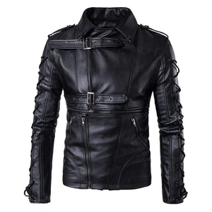 Men's Black Belted Buckle Zip Up Leather Handmade Casual Jacket - leathersguru