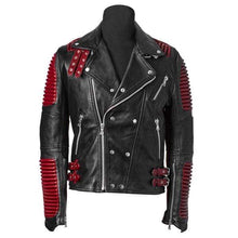 Load image into Gallery viewer, Men Red Black Motorbike Leather Jacket, Classic Trendy Scooter Fashion Jacket - leathersguru