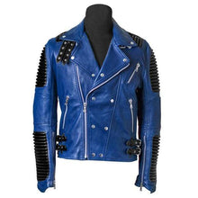 Load image into Gallery viewer, Men's New Blue Black Motorbike Leather Jacket, Classic Trendy Scooter Fashion Jacket - leathersguru