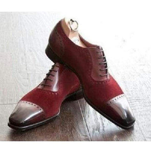 Handmade Maroon Suede Leather Cap Toe Shoe - leathersguru