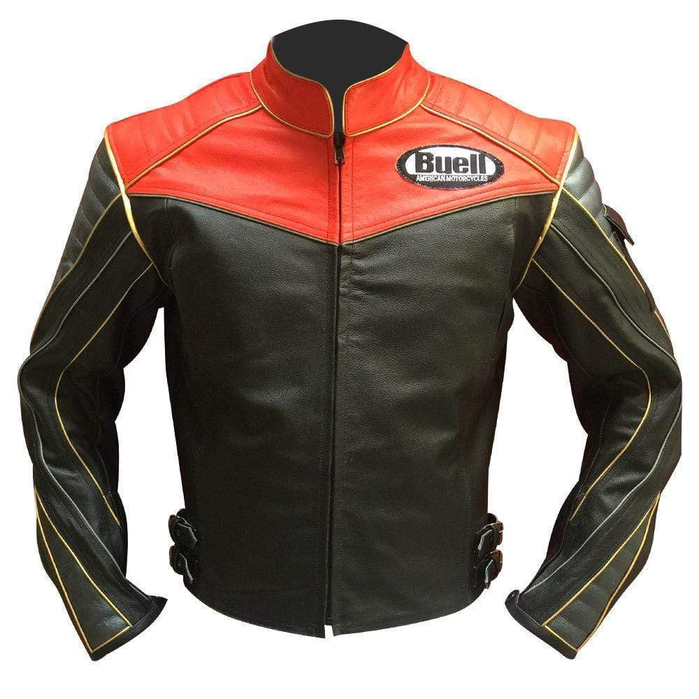 Men Buell Motorcycle Black Red Leather Jacket Buell Moto Leather Jacket With CE Armour - leathersguru
