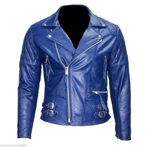 Men's New Blue Branded Motorbike Leather Jacket, Classic Trendy Scooter Fashion Jacket - leathersguru