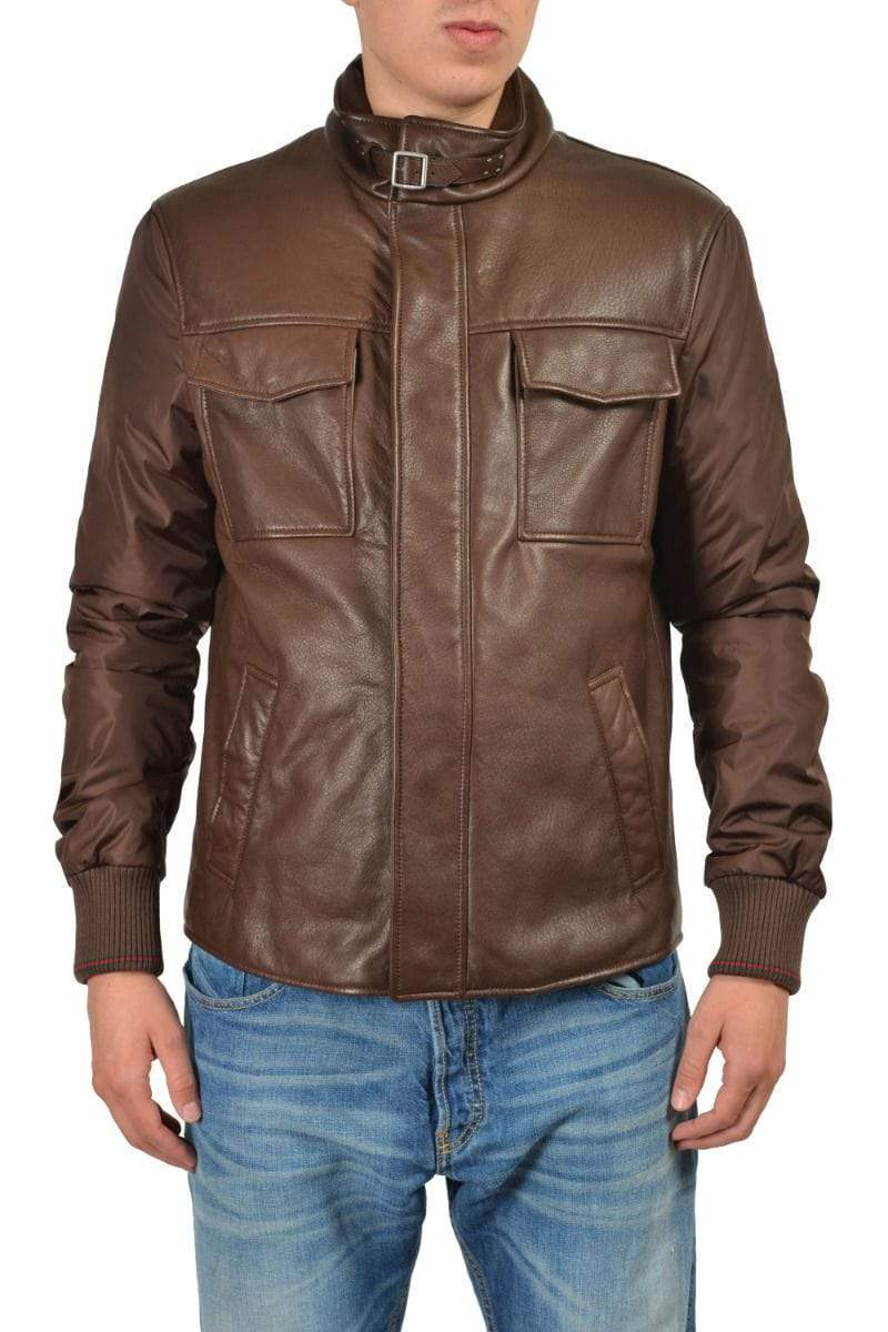 Men Brown Branded Motorbike Pockets Leather Jacket, Classic Trendy Scooter Fashion Zipper Jacket - leathersguru