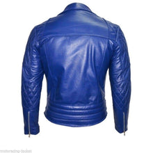 Load image into Gallery viewer, Men's New Blue Branded Motorbike Leather Jacket, Classic Trendy Scooter Fashion Jacket - leathersguru