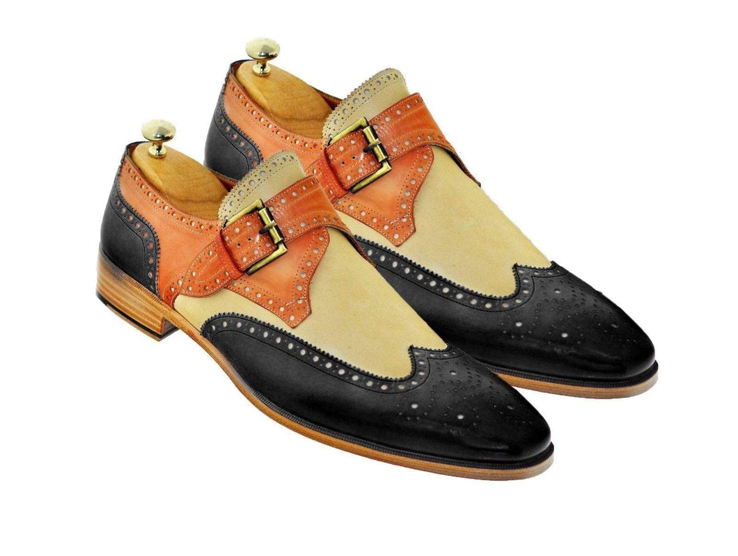 Men's Leather Monk Strap Tan Beige Black Wing Tip Brogue Shoes - leathersguru