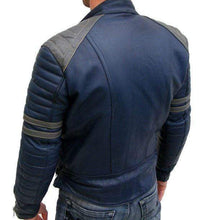 Load image into Gallery viewer, Men Navy Blue Gray Motorbike Leather Jacket, Classic Trendy Scooter Fashion Jacket - leathersguru