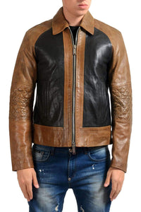 Men Brown Black Branded Motorbike Leather Jacket, Classic Trendy Scooter Fashion Zipper Jacket - leathersguru