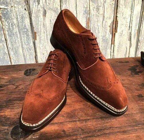 Handmade Men's Suede Brown Wing Tip Shoes - leathersguru