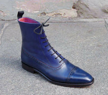 Load image into Gallery viewer, Men's Ankle High Blue Cap Toe Lace Up Leather Boots - leathersguru