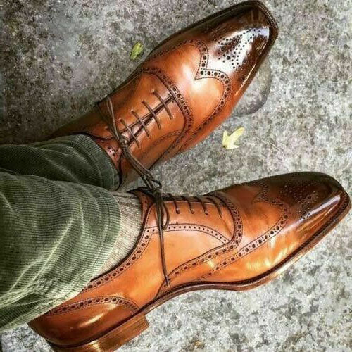 Bespoke Brown Leather Wing Tip Brogue Shoe for Men - leathersguru