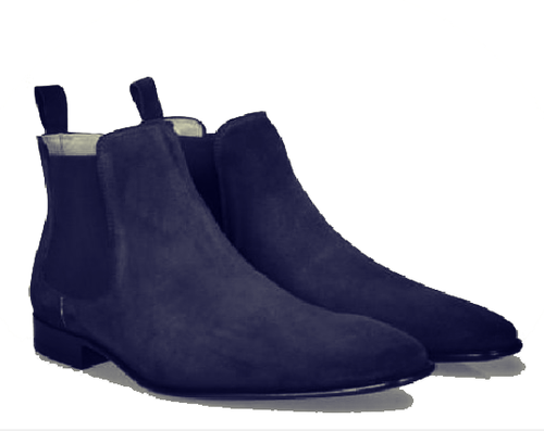 Bespoke Ankle High Navy Blue Chelsea Suede Dress Boot - leathersguru