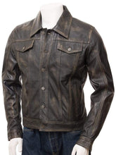 Load image into Gallery viewer, Men's Genuine Vintage Leather Jeans Jacket Unique Brown Slim Motorcycle jacket - leathersguru