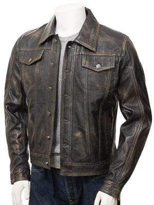 Men's Genuine Vintage Leather Jeans Jacket Unique Brown Slim Motorcycle jacket - leathersguru
