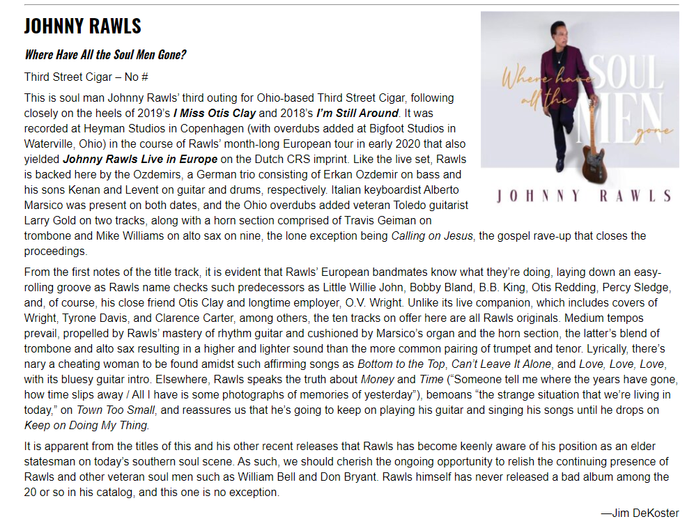 Living Blues reviews Johnny Rawls