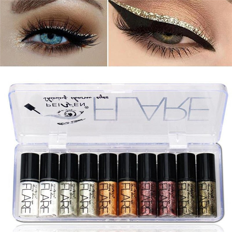 Portable 5 Colors Metallic Shiny Smoky Eyes Eyeshadow Waterproof Glitter Liquid Eyeliner Makeup Eyeshadow