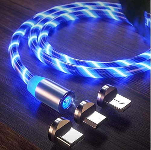 Glowing LED Magnetic 3 in 1 USB Charging Cable Nebula Light