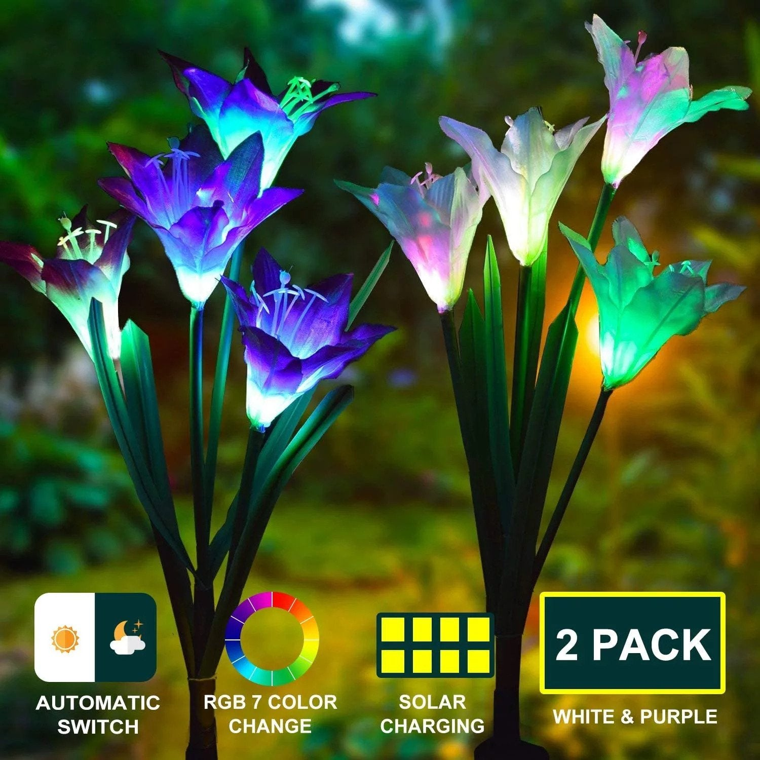 Solar Powered Lily Flower Light - 2 Pack Nebula Light