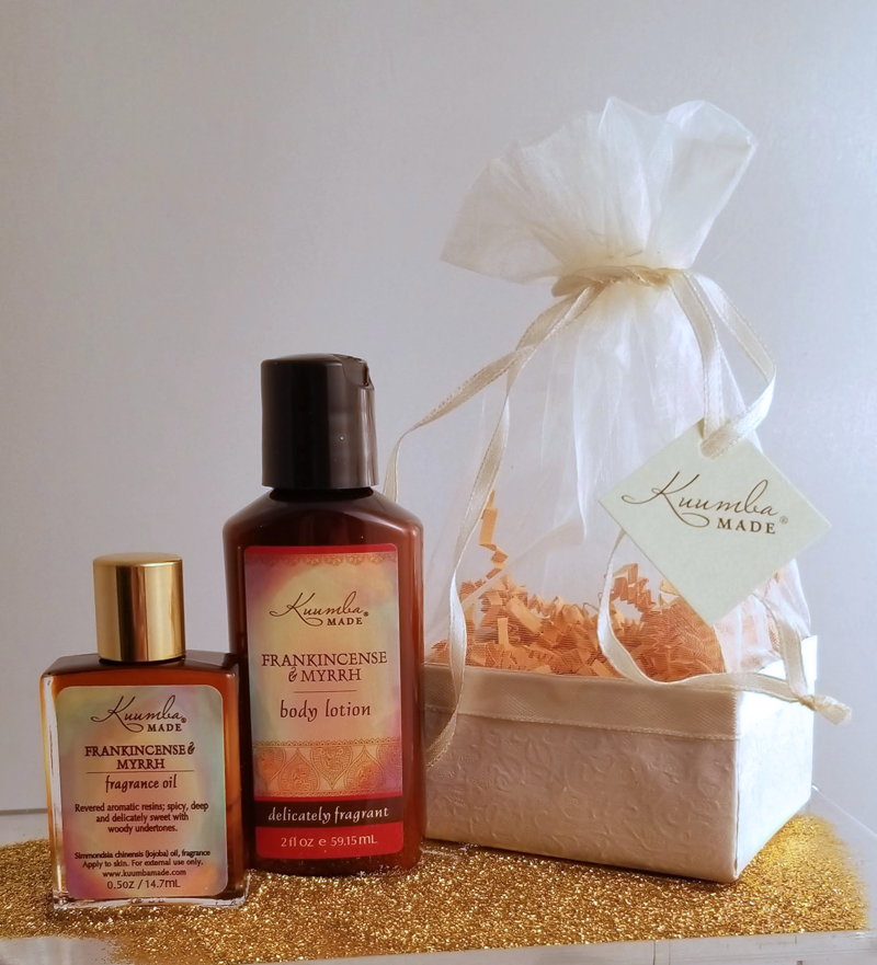 Frankincense and Myrrh bath and body Two Treasures Gift Set from Kuumba Made
