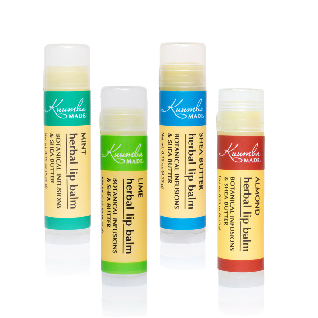 Set of 4 Herbal Lip Balms from Kuumba Made, includes Mint, Lime, Shea Butter, and Almond.