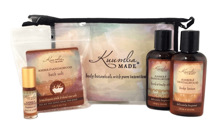 Amber & Sandalwood Four Treasures Collection Bath and Body from Kuumba Made