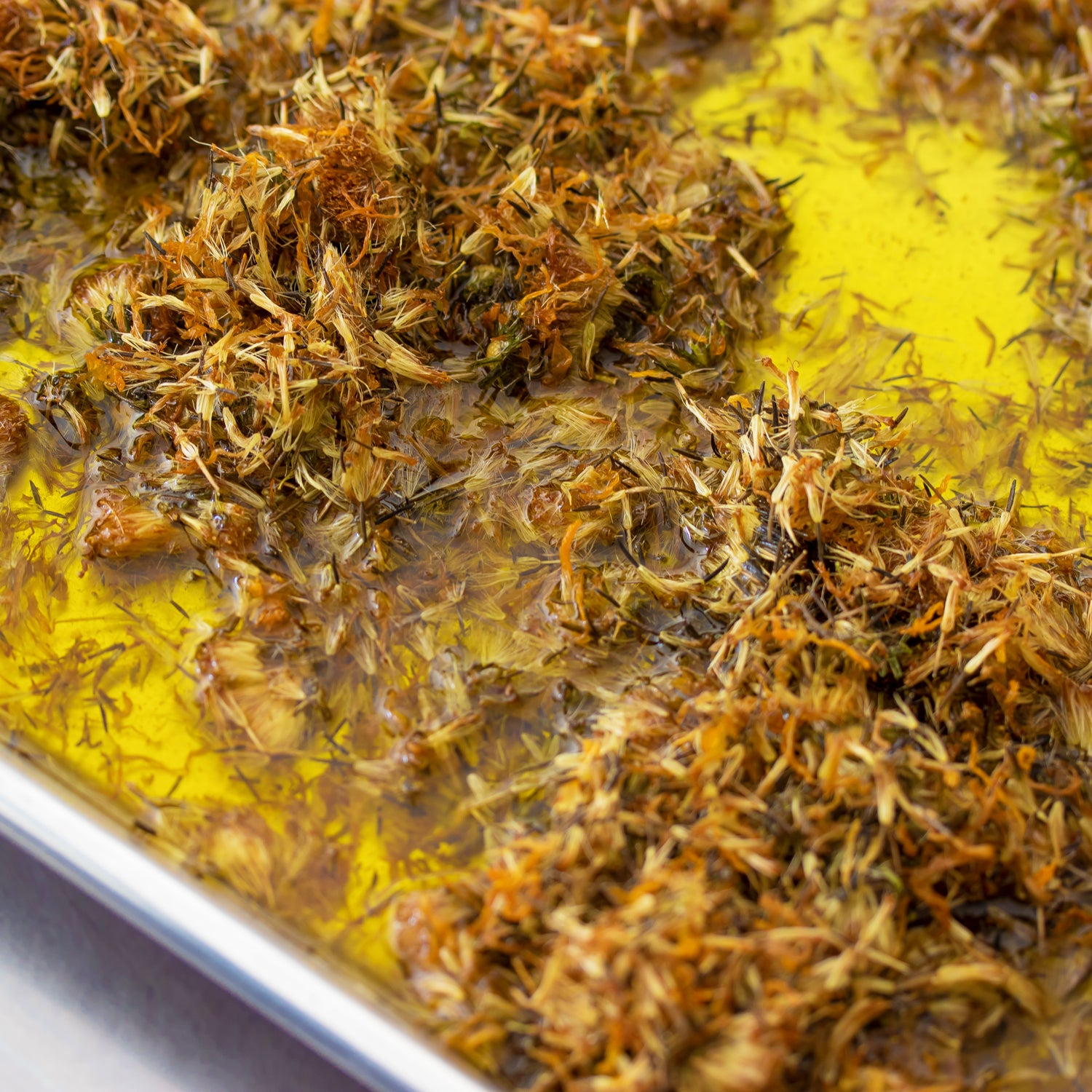 Arnica flowers being infused at Kuumba Made