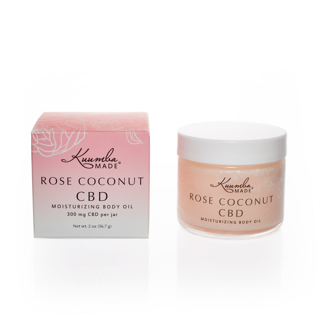 Kuumba Made CBD Rose Coconut Body Oil 2oz jar