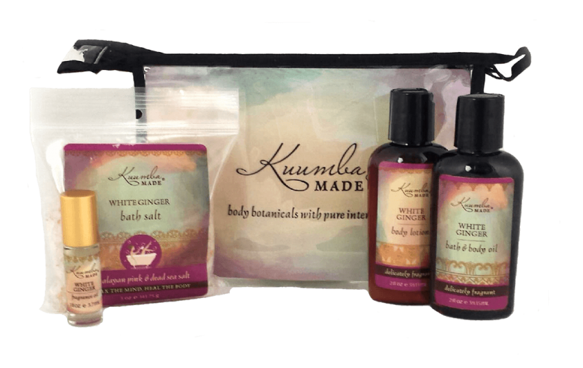 White Ginger bath and body Four Treasures Gift Set from Kuumba Made