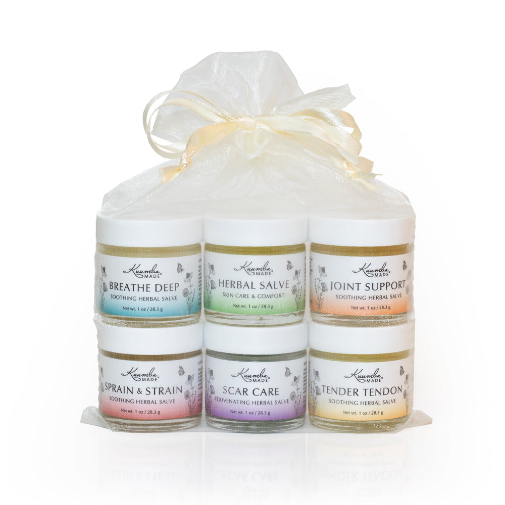 Kuumba Made Herbal Care Gift Set- includes 1oz jars of Breathe Deep, Herbal Salve, Joint Support, Sprain & Strain, Scare Care, and Tender Tendon.