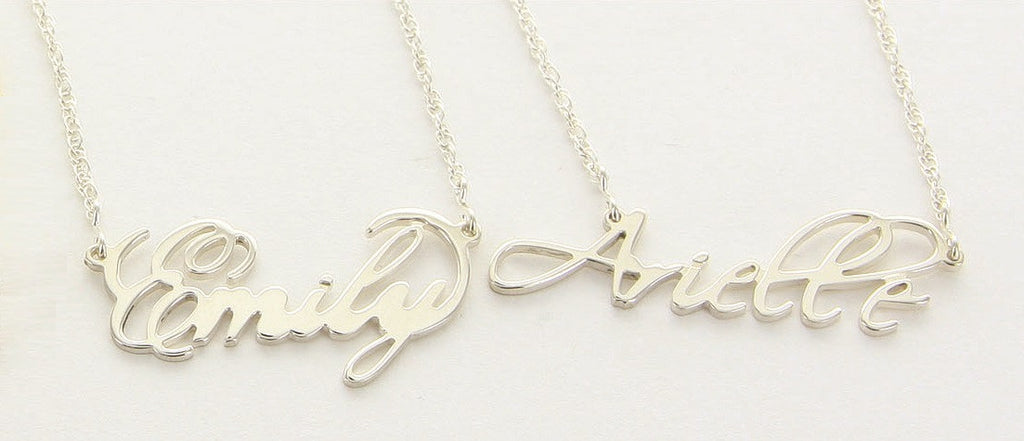 Long dress name necklaces
