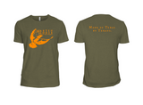 Martin House Logo Tee - Military Green and Orange