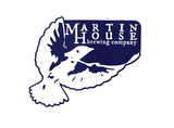 Martin House Blue and White Sticker