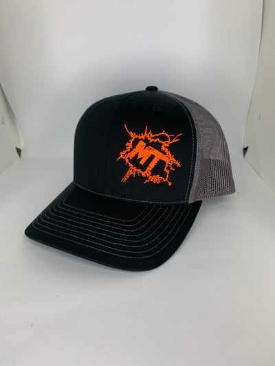 Structured Snap-Back Fluorescent Orange Splatter Logo