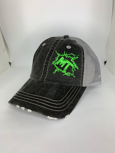 Vintage Grey / Fluorescent Green Splatter Logo