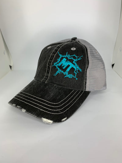 Vintage Grey / Deep Sky Blue Splatter Logo