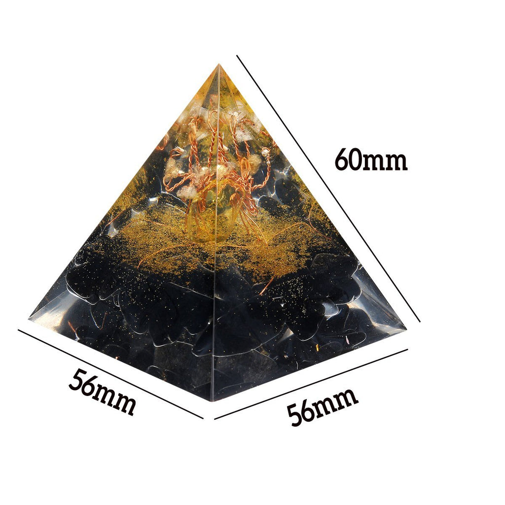 Black Gold Orgonic Pyramid Energy Generator Yoga Reiki Meditation Gemstone Healing Crystal Decorations - Shopcytee