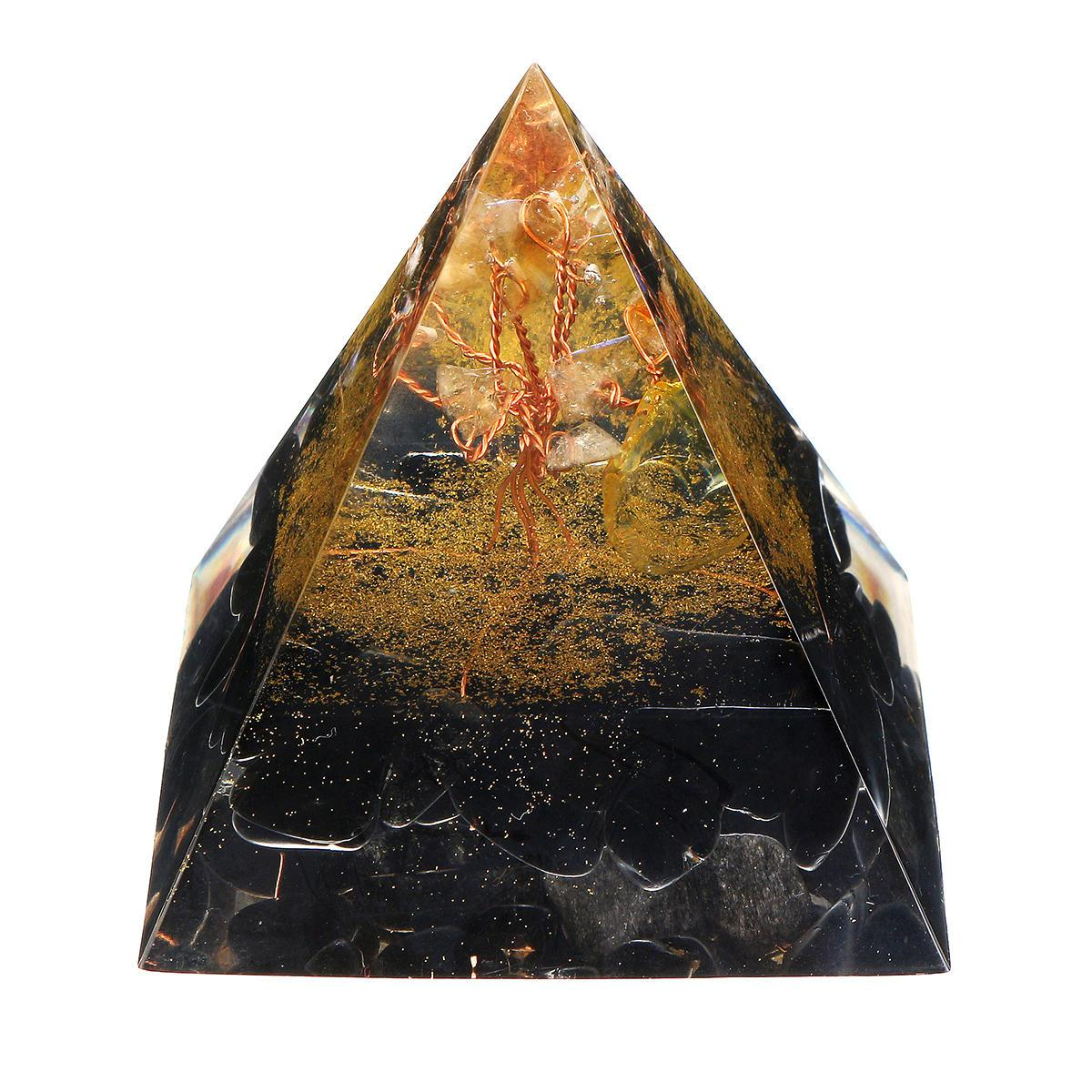 Black Gold Orgonic Pyramid Energy Generator Yoga Reiki Meditation Gemstone Healing Crystal Decorations