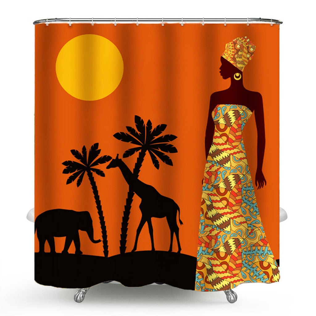 FunnyBathroom™ Africa Waterproof Bathroom Shower Curtain Toilet Cover Mat Non-slip Rug Set - Shopcytee