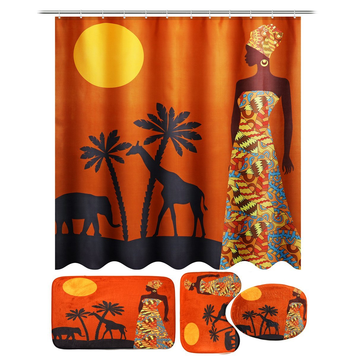 FunnyBathroom™ Africa Waterproof Bathroom Shower Curtain Toilet Cover Mat Non-slip Rug Set