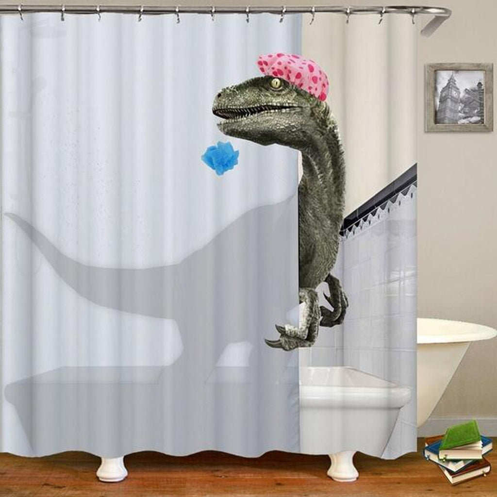 FunnyBathroom™ Dino Shower Curtain & Bathroom Carpet Toilet Cover Set - Shopcytee